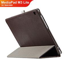 Etui Clapet Portefeuille Livre Cuir L03 pour Huawei MediaPad M3 Lite 10.1 BAH-W09 Marron