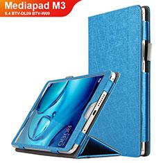 Etui Clapet Portefeuille Livre Cuir L04 pour Huawei Mediapad M3 8.4 BTV-DL09 BTV-W09 Bleu