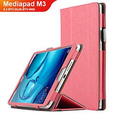 Etui Clapet Portefeuille Livre Cuir L04 pour Huawei Mediapad M3 8.4 BTV-DL09 BTV-W09 Rose