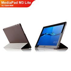 Etui Clapet Portefeuille Livre Cuir L04 pour Huawei MediaPad M3 Lite 10.1 BAH-W09 Marron