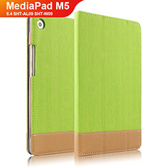 Etui Clapet Portefeuille Livre Cuir L04 pour Huawei MediaPad M5 8.4 SHT-AL09 SHT-W09 Vert