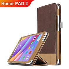 Etui Clapet Portefeuille Livre Cuir L05 pour Huawei Honor Pad 2 Marron