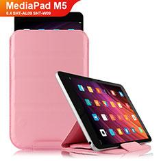 Etui Clapet Portefeuille Livre Cuir L06 pour Huawei MediaPad M5 8.4 SHT-AL09 SHT-W09 Rose