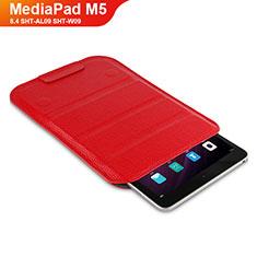 Etui Clapet Portefeuille Livre Cuir L07 pour Huawei MediaPad M5 8.4 SHT-AL09 SHT-W09 Rouge