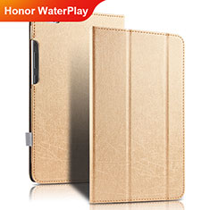 Etui Clapet Portefeuille Livre Cuir pour Huawei Honor WaterPlay 10.1 HDN-W09 Or