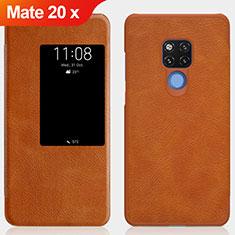 Etui Clapet Portefeuille Livre Cuir pour Huawei Mate 20 X Marron