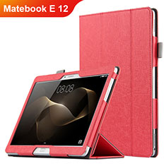 Etui Clapet Portefeuille Livre Cuir pour Huawei Matebook E 12 Rouge