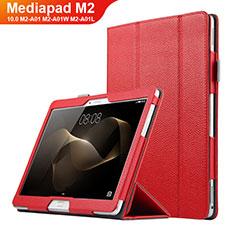 Etui Clapet Portefeuille Livre Cuir pour Huawei MediaPad M2 10.0 M2-A01 M2-A01W M2-A01L Rouge