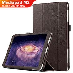 Etui Clapet Portefeuille Livre Cuir pour Huawei MediaPad M2 10.1 FDR-A03L FDR-A01W Marron