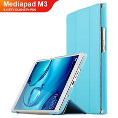 Etui Clapet Portefeuille Livre Cuir pour Huawei Mediapad M3 8.4 BTV-DL09 BTV-W09 Cyan