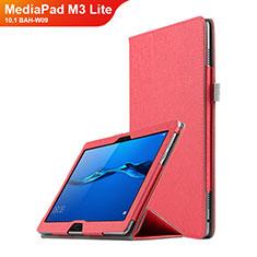 Etui Clapet Portefeuille Livre Cuir pour Huawei MediaPad M3 Lite 10.1 BAH-W09 Rouge