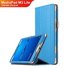 Etui Clapet Portefeuille Livre Cuir pour Huawei MediaPad M3 Lite 8.0 CPN-W09 CPN-AL00 Bleu Ciel