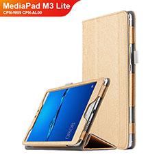 Etui Clapet Portefeuille Livre Cuir pour Huawei MediaPad M3 Lite 8.0 CPN-W09 CPN-AL00 Or