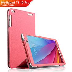 Etui Clapet Portefeuille Livre Cuir pour Huawei Mediapad T1 10 Pro T1-A21L T1-A23L Rose Rouge