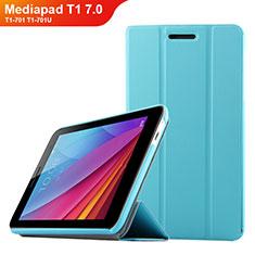 Etui Clapet Portefeuille Livre Cuir pour Huawei Mediapad T1 7.0 T1-701 T1-701U Bleu Ciel