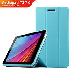 Etui Clapet Portefeuille Livre Cuir pour Huawei Mediapad T2 7.0 BGO-DL09 BGO-L03 Bleu Ciel