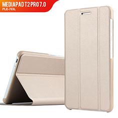 Etui Clapet Portefeuille Livre Cuir pour Huawei MediaPad T2 Pro 7.0 PLE-703L Or