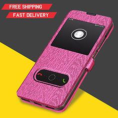 Etui Clapet Portefeuille Livre Cuir pour Huawei Y6 (2019) Rose Rouge
