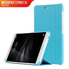 Etui Clapet Portefeuille Livre Cuir R01 pour Huawei MediaPad T2 Pro 7.0 PLE-703L Bleu Ciel