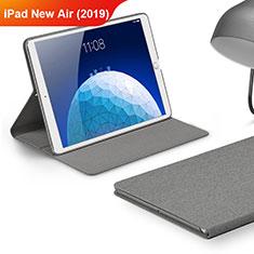 Etui Clapet Portefeuille Livre Tissu pour Apple iPad New Air (2019) 10.5 Gris