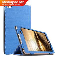 Etui Clapet Portefeuille Livre Tissu pour Huawei Mediapad M2 8 M2-801w M2-803L M2-802L Bleu