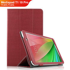 Etui Clapet Portefeuille Livre Tissu pour Huawei Mediapad T1 10 Pro T1-A21L T1-A23L Rouge