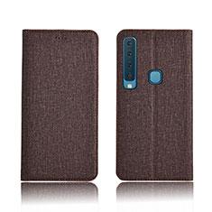 Etui Clapet Portefeuille Livre Tissu pour Samsung Galaxy A9s Marron