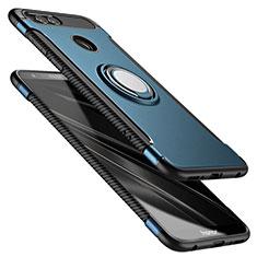 Etui Contour Silicone et Plastique Mat avec Support Bague Anneau A01 pour Huawei Honor 7X Bleu