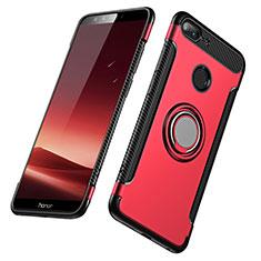 Etui Contour Silicone et Plastique Mat avec Support Bague Anneau pour Huawei Honor 9 Lite Rouge