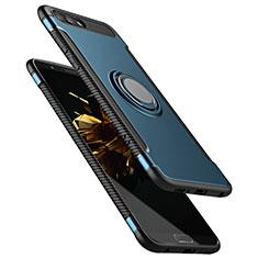 Etui Contour Silicone et Plastique Mat avec Support Bague Anneau pour Huawei Honor V10 Bleu