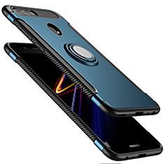 Etui Contour Silicone et Plastique Mat avec Support Bague Anneau pour Huawei Nova 2 Plus Bleu