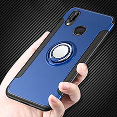 Etui Contour Silicone et Plastique Mat avec Support Bague Anneau pour Huawei P Smart+ Plus Bleu