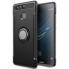 Etui Contour Silicone et Plastique Mat avec Support Bague Anneau pour Huawei P9 Noir