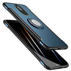 Etui Contour Silicone et Plastique Mat avec Support Bague Anneau pour Huawei Rhone Bleu