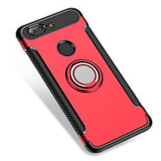 Etui Contour Silicone et Plastique Mat avec Support Bague Anneau pour OnePlus 5T A5010 Rouge