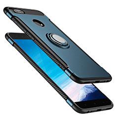 Etui Contour Silicone et Plastique Mat avec Support Bague Anneau pour Xiaomi Mi 5X Bleu
