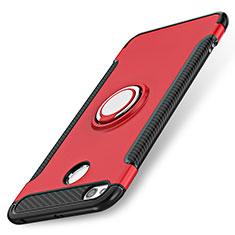 Etui Contour Silicone et Plastique Mat avec Support Bague Anneau pour Xiaomi Redmi 3 Pro Rouge