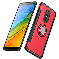 Etui Contour Silicone et Plastique Mat avec Support Bague Anneau pour Xiaomi Redmi 5 Plus Rouge