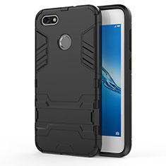Etui Contour Silicone et Plastique Mat avec Support pour Huawei Enjoy 7 Noir