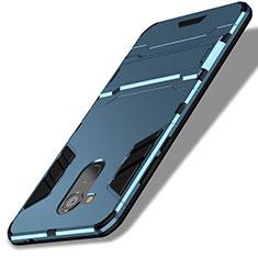 Etui Contour Silicone et Plastique Mat avec Support pour Huawei Honor 6C Pro Bleu