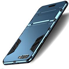 Etui Contour Silicone et Plastique Mat avec Support pour Huawei Honor View 10 Bleu