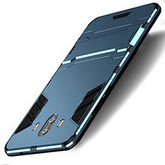 Etui Contour Silicone et Plastique Mat avec Support pour Huawei Mate 10 Bleu