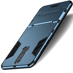 Etui Contour Silicone et Plastique Mat avec Support pour Huawei Mate 10 Lite Bleu