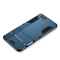 Etui Contour Silicone et Plastique Mat avec Support pour Huawei Nova 2S Bleu