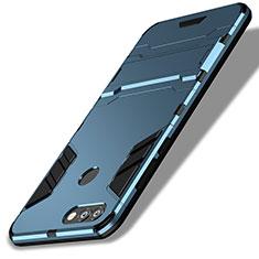 Etui Contour Silicone et Plastique Mat avec Support pour Huawei P Smart Bleu