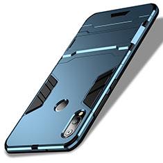 Etui Contour Silicone et Plastique Mat avec Support pour Huawei P20 Lite Bleu