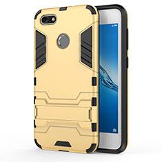 Etui Contour Silicone et Plastique Mat avec Support pour Huawei P9 Lite Mini Or