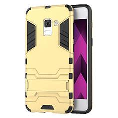 Etui Contour Silicone et Plastique Mat avec Support pour Samsung Galaxy A5 (2018) A530F Or