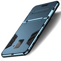 Etui Contour Silicone et Plastique Mat avec Support pour Samsung Galaxy A8 (2018) A530F Cyan