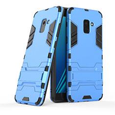 Etui Contour Silicone et Plastique Mat avec Support pour Samsung Galaxy A8+ A8 Plus (2018) Duos A730F Bleu